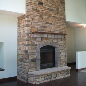 Fireplace with stone